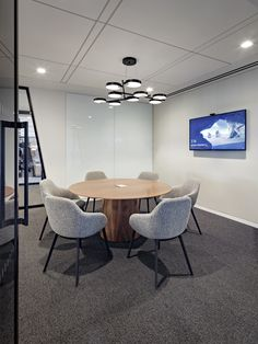 Bernhardt Design's Anza table at Waterfall Asset Management by Spector Group