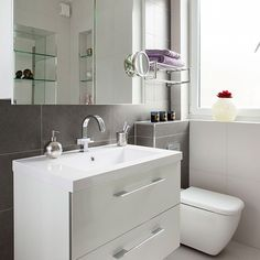 White bathroom with slate tiles