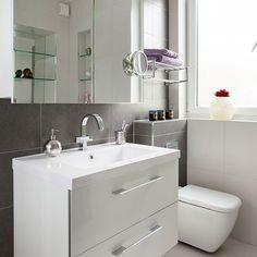 White bathroom with slate tiles