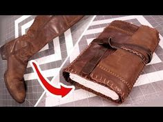 Upcycling Leather Boots into a Travelers Journal! - Leather Boots - Ideas of Leather Boots - Upcykling leather boots intro a journal Handmade Notebook, Handmade Journals, Handmade Books, Handmade Rugs, Handmade Crafts, Diy Leather Books, Leather Craft, Leather Jewelry, Leather Book Binding