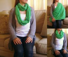 SHIPS NOW -- Nursing Scarf / Infinity Scarf / Nursing Cover - Blue Stripes on Neon Green Pique Knit - 32 x 60 inches $20