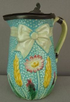 Majolica Pottery; Fielding, Syrup Pitcher, Ribbon & Bow/Daisy/Wheat, Turquoise, Pewter Top