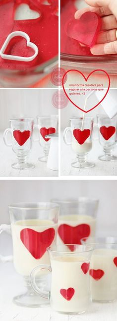 white chocolate panna cotta with jello hearts Just Desserts, Delicious Desserts, Dessert Recipes, Yummy Food, Snacks Für Party, Food Decoration, Cute Food, Creative Food, Food Presentation