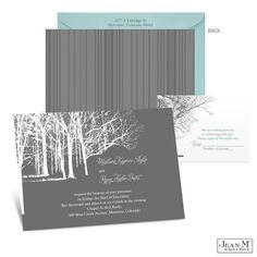 Trees in Winter Wedding Invitation-like the color palette and use of trees