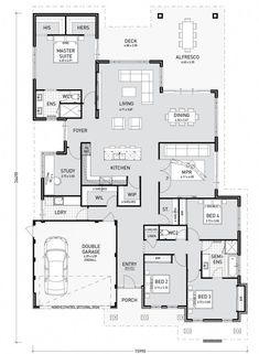 4 Storey Tall House Reaches Above The Forest To See The: Floor Plan Friday: 4 Bedroom, Study, Media And Good Storage Modern House Floor Plans, Modular Home Floor Plans, Home Design Floor Plans, Best House Plans, Dream House Plans, Small House Plans, Bungalow Floor Plans, Single Floor House Design, Hotel Floor Plan
