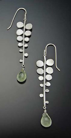 Fern Earrings by Ananda Khalsa. Matte sterling silver fern fronds are finished with a pale green prehnite *briolette*. Earrings hang 2 inches on french earwires.