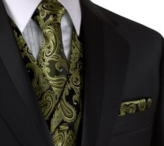 Best Tuxedo - Italian Design, Men's Formal Tuxedo Vest, Tie & Hankie Set for Prom, Wedding, Cruise in Green Paisley - Walmart.com - Walmart.com Formal Vest, Formal Tuxedo, Men Formal, Tuxedo For Men, Tuxedo Coat, Tuxedo Dress, Cool Tuxedos, Shawl Collar Tuxedo, Butterflies