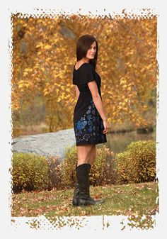 Black dress with blue paisley print and crystals by Cowgirl Tuff Co. | Fall 2012