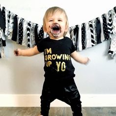 1st Birthday Outfit Kids Shirt Hipster Baby Clothes Boy Toddler Girl Im Growing Up Yo Golden