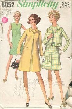 1960's Simplicity 8052 Dress, Coat & Jacket