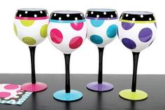 Art Painted wine glasses craft- doing this at bacholrette party for the wedding!