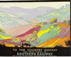 "A powerful, almost gaudy poster image by well-known poster artist Gregory Brown for the Southern Railway.""To the Country Quicker"" - Southern Railway poster , Posters Uk, Railway Posters, Southern Railways, Retro Poster, Plant Painting, Vintage Travel Posters, Illustrators, Prints, British Travel"