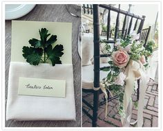 delicate leaf and floral wedding details