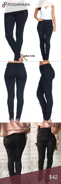 High rise distressed jeans Black high rise distressed and stretchy skinny jeans. Great quality and perfect for any season.   ✔️97% cotton 3% spandex ✔️Fits true to size  ✔️Have good stretch to them ✔️Daughter is modeling her size 5 - waist is between 26/27 ✔️Limited sizes - grab them while you can Boutique Jeans