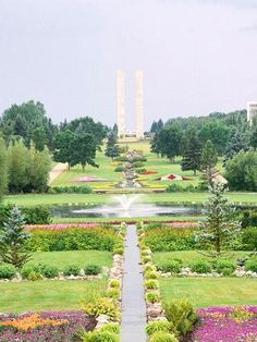 International Peace Garden, ND, USA. Trails and lush gardens along the U.S.-Canada border celebrate peace between the two nations. The 2,300-acre garden is half in the U.S. and half in Canada, about 110 miles northeast of Minot.