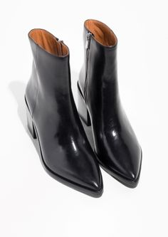 & Other Stories image 2 of Pointy Block Heel Boots in Black