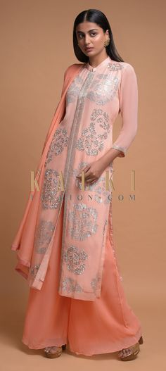Baby Pink Palazzo Suit In Georgette With Sequins And Cut Dana Embroidered Rose Motifs Online - Kalki Fashion Front Cut Kurti, Ethnic Fashion, Womens Fashion, Palazzo Suit, Kurti Patterns, Kurti Designs Party Wear, Full Sleeves, Ethnic Style, Shalwar Kameez