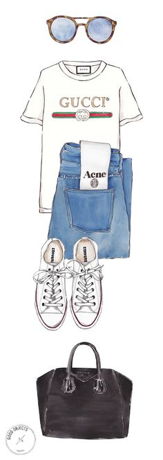 Good Objects illustrations are usually inspired by real life objects that you can now buy ! Back to basics watercolor illustration ft. Mykita Sunglasses, Gucci Tee, Acne Studios jeans, White Converse All Star sneakers and Givenchy Antigona Bag #ad