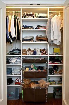 Small Bedroom Storage Ideas.. Love the closet shelving.