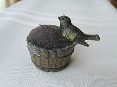 Antique Cast Metal Bird on a Bushel Basket Pin Cushion; Circa late 1800's - Early 1900's