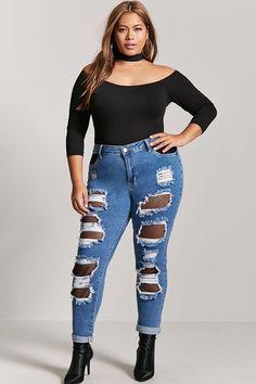 Product Name:Plus Size Fishnet-Insert Boyfriend Jeans, Category:plus_size-main, Price:37.9