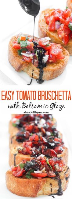 Bruschetta with Balsamic Glaze Easy Tomato Bruschetta with Balsamic Glaze: Entertaining has never been easier with this delicious, fresh and simple Italian appetizer. Try an easy tomato bruschetta with balsamic glaze today! Vegan Appetizers, Appetizers For Party, Appetizer Recipes, Simple Appetizers, Thanksgiving Appetizers, Appetizer Ideas, Tomato Appetizers, Italian Appetizers Easy, Easy Appies
