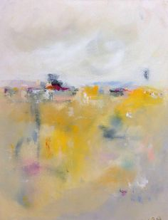 Yellow Abstract Landscape Cityscape Painting by lindadonohue