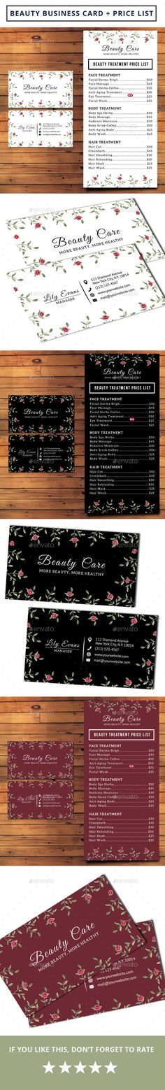 Beauty Business Card + Pricelist - Industry Specific Business Card Template PSD. Download here: http://graphicriver.net/item/beauty-business-card-pricelist/16714888?s_rank=31&ref=yinkira