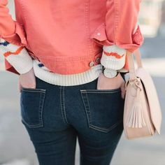 February details.  This month is all about the girly details. Cue the Valentine's worthy shades of pink--I'm all about mixing and matching. My coral denim jacket pairs perfectly with this stripe sweater + blush purse. The best part is that they're current