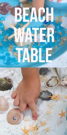 Beach Water Table Sensory Play - Jennifer - Sugar, Spice & Glitter - Beach Water Table Sensory Play This easy Beach Water Table is a fun summer activity for kids, and you don't have to worry about a muddy mess when you make our DIY waterproof sand - Water Play Activities, Outdoor Summer Activities, Beach Activities, Sensory Activities, Sensory Play, Preschool Activities, Sensory Table, Kids Water Table, Water Play For Kids