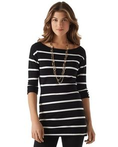 One of my faves...perfect with leggings (White House Black Market Striped Tunic #whbm)