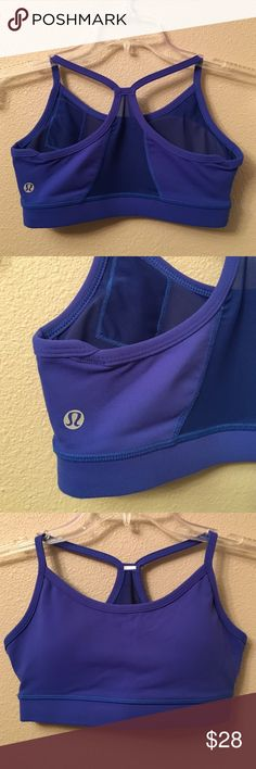 "🎉HOST PIC! 2017 style party! Lululemon Flow Y Bra Blue Lululemon Flow Y Bra. Excellent condition- pads are included. No size dot- but measures 11.5"" across front- size 2. lululemon athletica Intimates & Sleepwear Bras"
