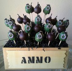 Grenade and Bomb Cake Pops - Video Games Cake Pops - Army Birthday Party - Edible Party Favor