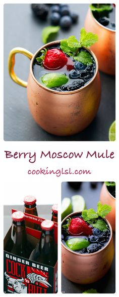 Packed with strawberries, blueberries and raspberries, this berry Moscow Mule is a great twist on a classic cocktail. @lsl6