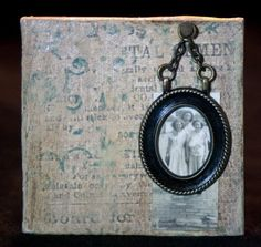 NOSTALGIA - Original Mixed Media on Canvas Brooch by Rosemarie Hughes