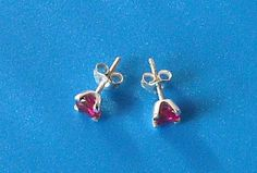 925 Sterling Silver Garnet Red Zirconia Stud by AfillyDsign, $17.90