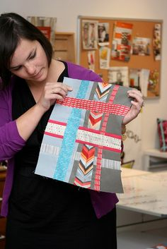 Modern Patchwork Mini Quilt Club - Metropolis - At CityCraft - 40 by CityCraft, via Flickr.     Original tutorial is HERE:  http://www.ohfransson.com/oh_fransson/2012/07/modern-patchwork-metropolis-quilt-part-1.html       THANK YOU FOR SHARING!!!!!