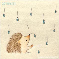 Raindrops keep fallin' on my head Hedgehog Art, Hedgehog Drawing, Cute Hedgehog, Art And Illustration, Hedgehog Illustration, Illustrations, Embroidery Motifs, Doodle Art, Cute Drawings