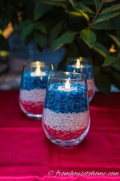 Looking for some easy patriotic decorations for your Memorial Day or of July party? This list has some beautiful red white and blue decor ideas that can all be used outdoors, and will work great for a an Independence Day BBQ Fourth Of July Decor, 4th Of July Celebration, 4th Of July Decorations, 4th Of July Party, Diy Outdoor Party Decorations, 4th Of July Ideas, Fourth Of July Drinks, Memorial Day Decorations, Candle Decorations