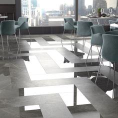 Pavimento effetto #herringbone con SENSI Pietra Grey Lux+ e Sablè di #abkemozioni.  #ceramic #tiles #floor #wall #marbleeffect #gresporcellanato #design #restaurant #porcelainstoneware #ceramicsofitaly #floortiles #walltiles #designtiles #italiantiles