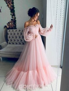 Pink Prom Dress,A-Line Evening Dresses,Tulle Prom Dresses,Off The Shoulder Prom Gown Princess Prom Dresses, Pink Party Dresses, Pretty Prom Dresses, Tulle Prom Dress, Ball Dresses, Elegant Dresses, Ball Gowns, Evening Dresses, Sexy Dresses