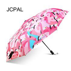 Windproof Sunny & Rainy Travel Umbrella Women Flamingo /Cuckoo Pattern 3 Folding Black Coating Portable Parasol Small Compact