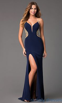 Shop long prom gowns with sheer backs and v-necks at Simply Dresses. Long Glamour by Terani designer dresses with beading on illusion mesh.