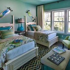 HGTV - boy's rooms - twin beds, pair of beds, double beds, traditional style beds, white coverlet, turquoise walls, turquoise ceiling, turquoise pillow, tropica