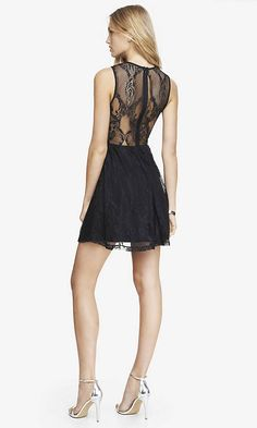 Love the backing style LACE SKATER DRESS - BLACK | Express