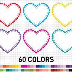 Heart Clipart: Digital Heart Clipart Valentine | Etsy Heart Graphics, Heart Clip Art, Blog Backgrounds, Printable Scrapbook Paper, Bottle Cap Images, Pink Owl, Heart Frame, Valentine Heart, Scrapbook Supplies