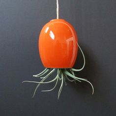 large orange hanging airplant pod planter tm by mudpuppy on Etsy, $42.00