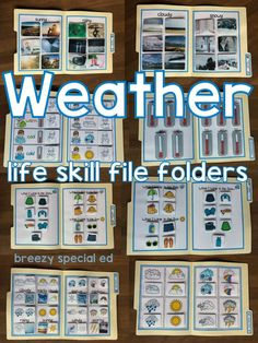 Weather Life skill and Science File Folders for Special Education These life skill file folder activities work on a variety of weather . File Folder Activities, File Folder Games, File Folders, Life Skills Classroom, Special Education Classroom, Autism Classroom, Life Skills Lessons, Science Lessons, Life Science