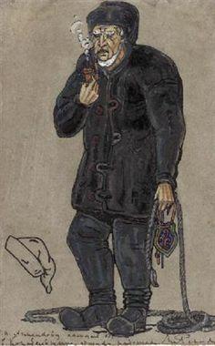 """Costume design van een scheepsbouwer voor """"Peer Gynt"""" - Nicholas Roerich"""