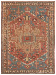 Serapi, 4ft 8in x 6ft 5in, Circa 1875. With its evocative palette of time-softened earth-tone colors, this masterful antique Persian Serapi Oriental area rug is certain to command the rapt attention of both rug connoisseurs and lovers of beauty. Its spacious, elemental design effortlessly balances luminous periwinkle blues, earthy camel and khaki tones, warm terracotta and aubergine hues, while abrash (intentional color striation), imparts a sense of movement and visual depth.